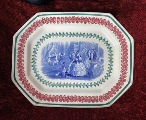 Antique Clemenston Stick Spongeware LG Platter with Blue Transfer Staffordshire