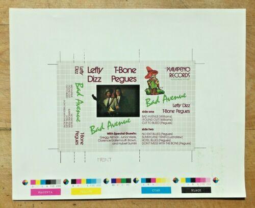 "Rare Chicago Blues Lefty Dizz ""Bad Avenue"" fe: Gregg Allman J-Card Press Sheet"