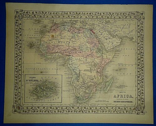 Vintage Circa 1874 AFRICA w/ UNKNOWN INTERIOR - ARABIA MAP Old Antique Original