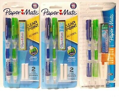 Paper Mate Clear Point Mechanical Pencils 2 0.9mm Lot Of 3 Packs 6 Pencils