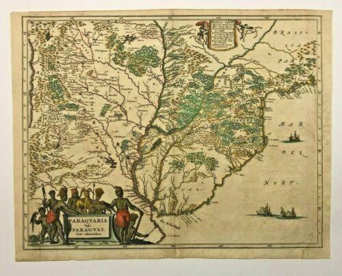 PARAGUAY 1673 Arnoldus MONTANUS UNUSUAL ANTIQUE ENGRAVED MAP 17TH CENTURY