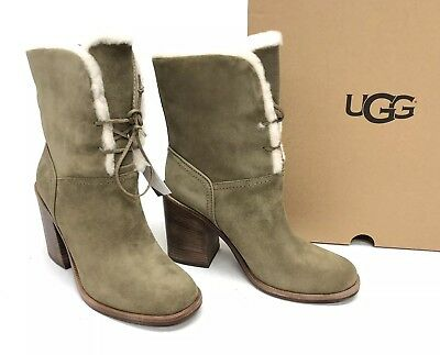 Ugg Lace Up Boots (UGG Australia Jerene Wool Lined Lace Up Boots Antilope 1098313 Stacked Heel)