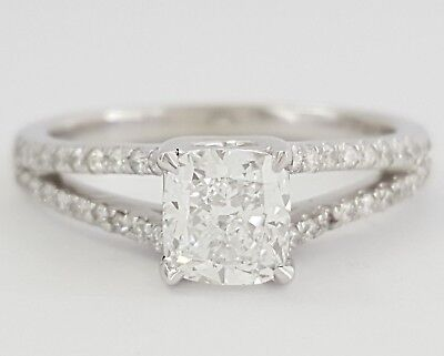1.3 ct Platinum Cushion Cut Diamond Split Shank Engagement Ring GIA D / SI1
