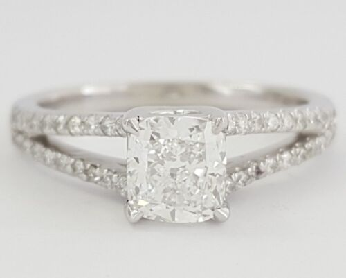 1.3 Ct Platinum Cushion Cut Diamond Split Shank Engagement Ring Gia D / Si1