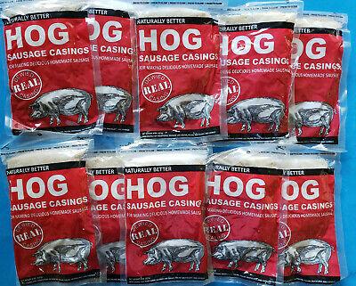 10 Packs Natural Hog Pork Sausage Casings Stuffing For Links Brats Etc