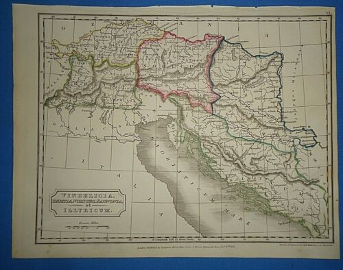 ANCIENT BAVARIA MAP Printed in 1825 Old Vintage Original Hand Colored Map