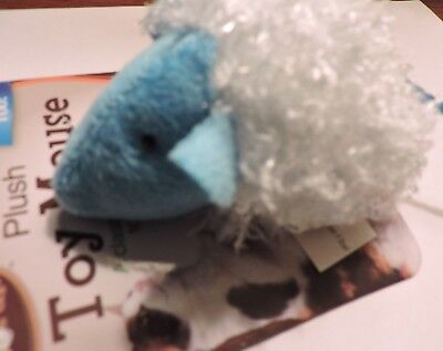 PLUSH TOY MOUSE with Rattle for Cats, as shown Blue