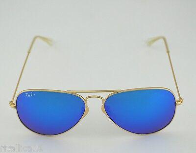 Ray Ban RB 3025 Aviator Flash Lenses112/17 Gold frame /Blue Flash Glass Lens (Gold Mirror Ray Ban Aviators)