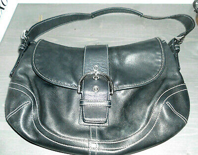 Coach Handbag Black Leather Hobo Shoulder Bag Buckle Flap No. A080-9248