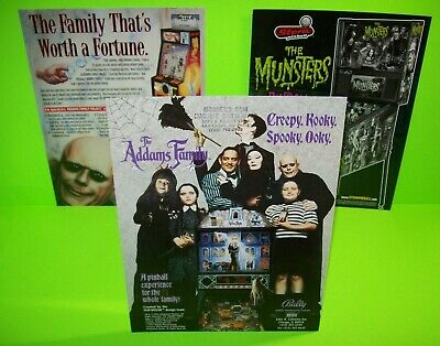 The Addams Family + Munsters Pinball Machine FLYER Set Of 3 Halloween Horror TV