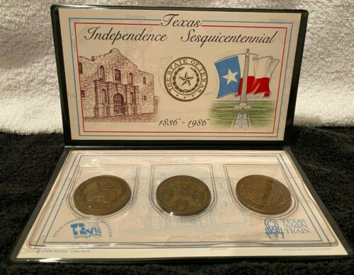 1836 - 1986 Texas Independence Sesquicentennial - Wagon Train Medal Set