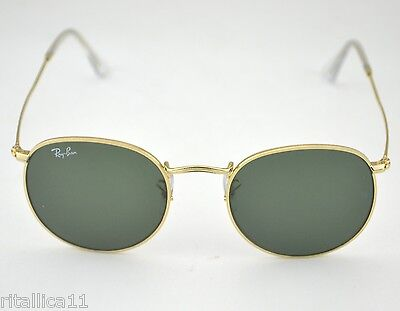 Ray-Ban RB3447 Round Metal 001 Gold Frame/ Green Classic G-15 Lens Sunglasses