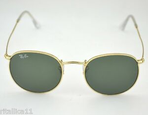 630ff5ba6df0c Ray-Ban RB3447 Round Metal 001 Gold Frame  Green Classic G-15 Lens