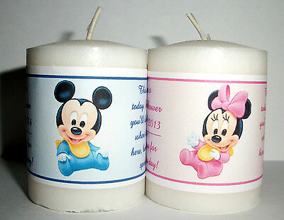 14 BABY MICKEY BABY MINNIE BABY SHOWER FAVORS VOTIVE CANDLE LABELS - Candle Baby Shower Favors
