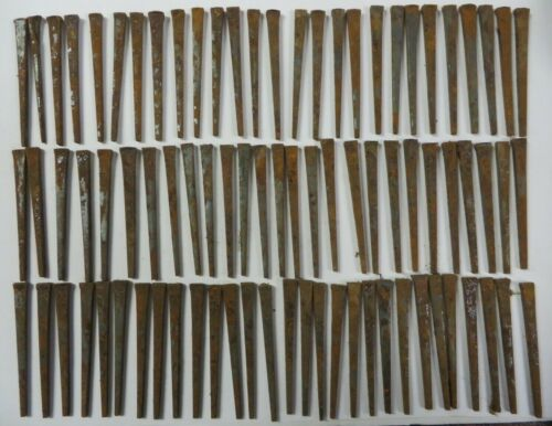 "Antique Lot of 100+ SQUARE NAILS Iron 2.5"" Steel Rusted Vintage"