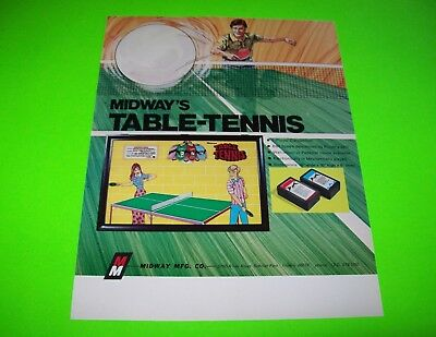 Midway TABLE TENNIS Original 1972 Vintage Arcade Wall Game Promo Sales Flyer