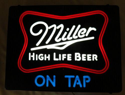 "Vintage 1985 Miller High Life Beer Lighted Sign Faux Neon 20"" x 15"""
