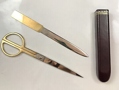 Vintage Mid-century Modern Scully Scully Scissor Set Circular Office Leather