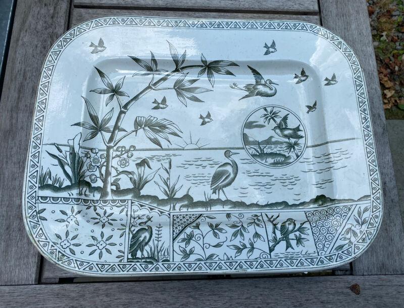 Vintage Antique Tonquin Green Transferware Aesthetic Bird Decorated Platter
