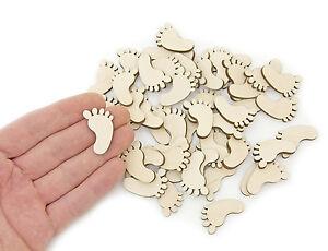 50pcs-Madera-Pies-De-Bebe-3cm-Formas-Madera-Pie-Adornos-Decoracion-Artesanal