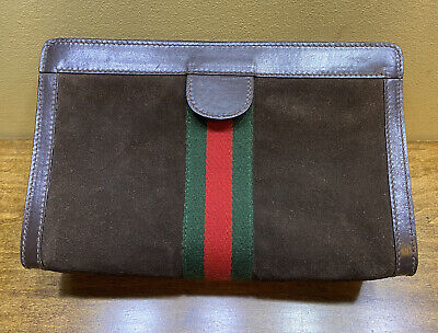 Authentic Vintage GUCCI Suede Accessory collection Clutch Cosmetic Case Bag