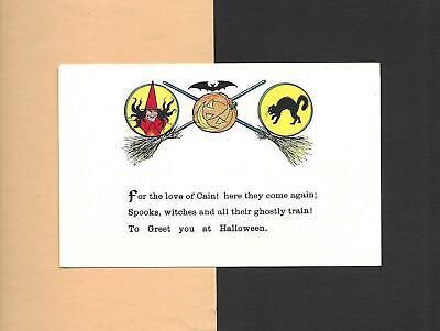 WITCH, BLACK CAT, JOL, BAT BROOMSTICKS Spooky Unused Vintage HALLOWEEN Postcard