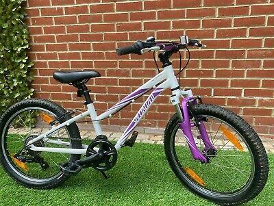 """Specialized Hotrock Kids Bike - 20"""" wheels. White & Purple girls frame."""