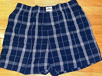 NWT Hollister by Abercrombie Men 100% Cotton Woven BOXERS M Navy Plaid