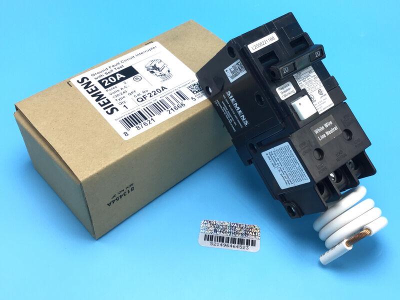 New Circuit Breaker Siemens QF220A QF220 20 Amp 2 Pole 120/240V Self Test GFCI