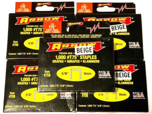 "Arrow T-75 9/16"" Beige Staples 5000 Staples USA Made #759"