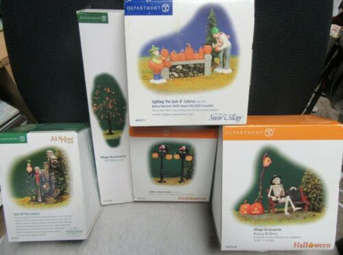 LOT OF 5 DEPARTMENT 56 HALLOWEEN VILLAGE ACCESSORIES - PRE-OWNED IN BOXES