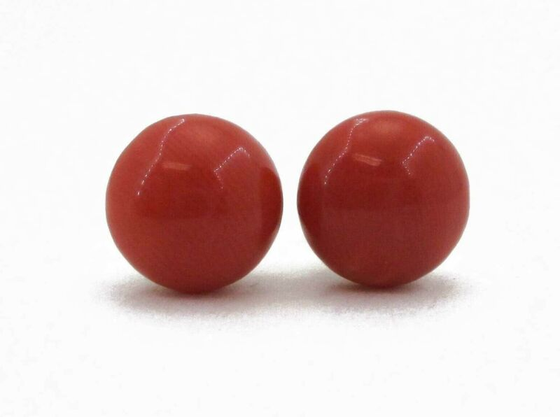 Antique 14k Yellow Gold 9mm Natural Coral Stud Button Earrings 2.8g i3018