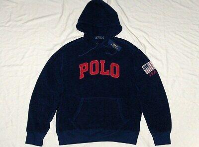 POLO RALPH LAUREN Men's Fleece Logo Hoodie Sweatshirt, USA Flag, Navy Blue, NWT Blue Classic Logo Hoody Sweatshirt