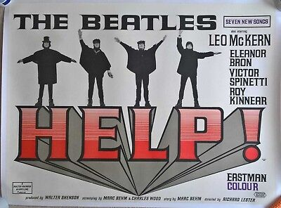 HELP  -1965 UK QUAD ORIGINAL POSTER . 30 x 40 inches-ON LINEN
