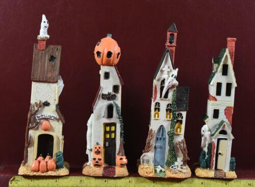 Halloween Village Houses Unique Skinny 4 piece lot