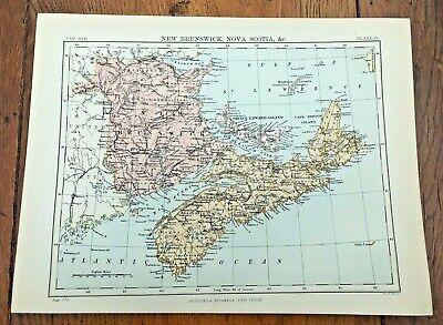 circa 1880s map of new brunswick nova scotia !  ( adam & charles black )