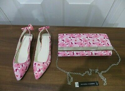 Ladies Dorothy Perking Flat Shoes Size 5 with matching clutch bag Multicolour.