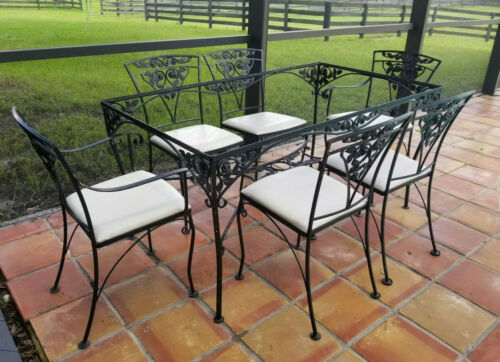 Set of 7 Vintage Russell Woodard CHANTILLY ROSE Wrought Iron Patio Table Chairs