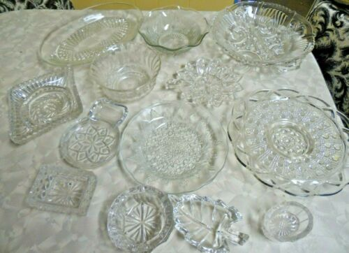 Mixed Lot 17 Pieces Cut Pressed & Crystal Glassware