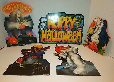 Vintage Hallmark Halloween Diecut Decorations Set of 5 Monsters Rare! 1981 EXC