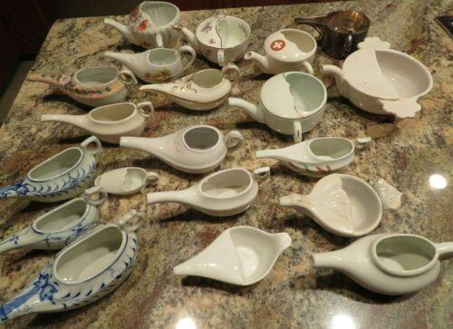 20 Antique Porcelain Invalid or Infant Feeders Pots & Roman Trulla