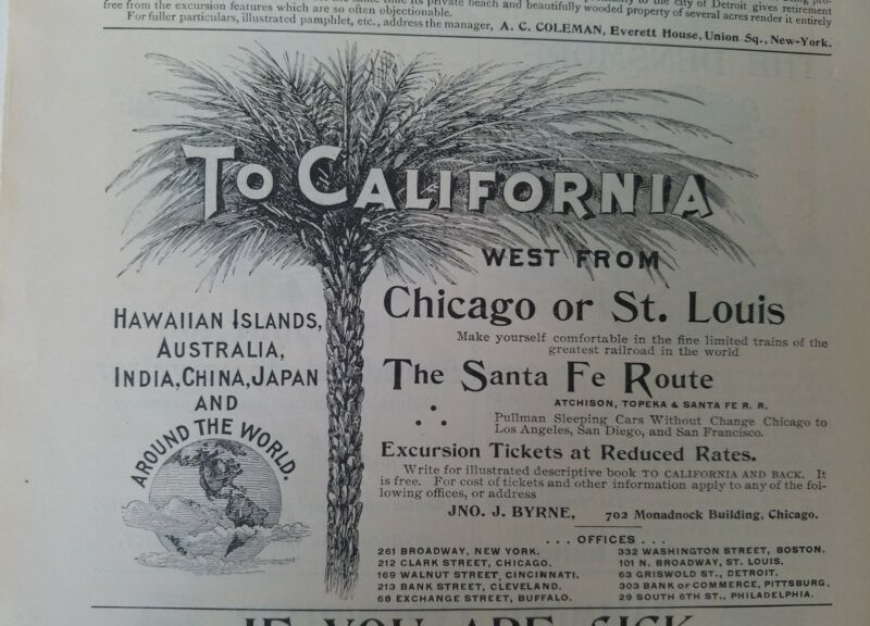 1894 Santa Fe Railway railroad route to California vintage original ad