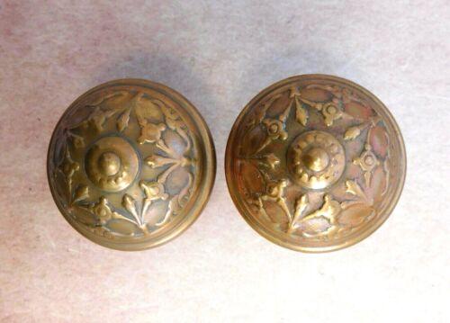 "Pair of Antique Reading ""Clifton"" 1895 door knobs wrought bronze brass vintage"