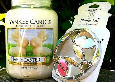 Yankee Candle  Happy Easter   22 Oz    Cottontails Golden Eggs Illuma Lid   New