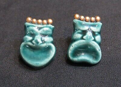 Pair of Vintage Porcelain Carved Face w/Copper Back Twist On Earrings
