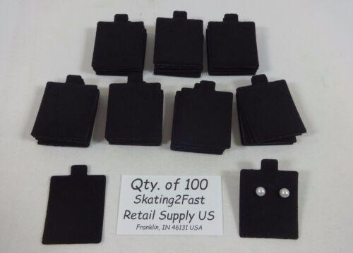 "1.5"" x 1.75"" Black Plain Felt Puffed Earring Cards Hold Qty. 100"
