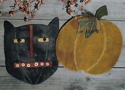 PRIMITIVE WOOL APPLIQUE PENNY RUG PATTERN BLACK CAT PUMPKIN HALLOWEEN - Halloween Wool Applique Patterns
