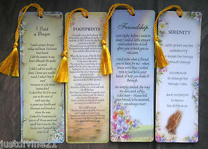 Religious-Gift-Bookmark-Various-Footprints-Serenity-Friendship-Said-a-Prayer