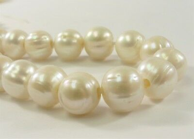 11-12 mm AA Large Hole Freshwater Pearl Bead Potato Shape White Color (#73)
