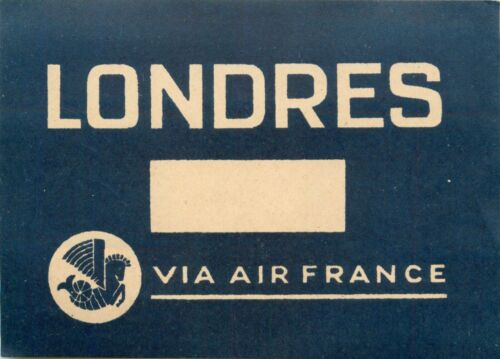AIR FRANCE to LONDRES / LONDON - Scarce Old Airline Luggage Label, c. 1935  MINT